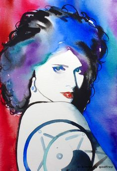 Original Watercolor Painting Isabella Rossellini Blue Velvet David Lynch Art Red