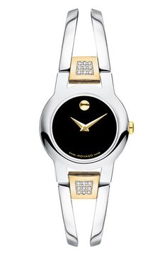 Free shipping and returns on Movado 'Amorosa' Bracelet Watch, 24mm at Nordstrom.com. Slender, feminine bracelet cast in stainless steel wraps a numberless dial on an elegant watch accented with eighteen brilliant diamonds.