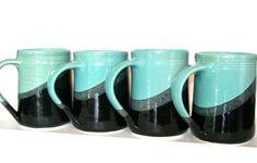 Set of 4 16 oz Handmade Ceramic Mug  Aqua  by crutchfieldpottery