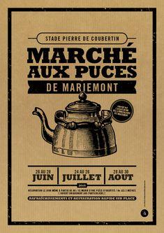 Affiche Kraft marché aux puces - Le Moulin à Puces