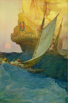 An Attack on a Galleon, 1905 Howard Pyle (1853-1911) Oil on canvas, 29 1/2 x 19 1/2 inches Delaware Art Museum, Museum Purchase, 1912