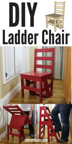 DIY Ladder Chair - I'm always looking for ideas for small spaces and this one is genius! This DIY chair flips from being an extra seat to a step stool or ladder. Great for a kitchen to reach those upper cabinets. The best part is the plan is FREE! Diy Wood Projects, Furniture Projects, Home Projects, Home Furniture, Folding Furniture, Furniture Design, Murphy Furniture, Wooden Furniture, Carpentry Projects