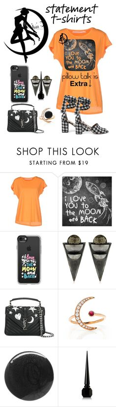 """""""To the Moon, Alice"""" by rosalindmarshall ❤ liked on Polyvore featuring Schumacher, WALL, Casetify, Liase, Yves Saint Laurent, EF Collection, RGB, Christian Louboutin and Sam Edelman"""