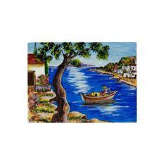 (Ελληνικά) Χειροποίητος πίνακας ζωγραφικής με τοπίο πάνω σε ξύλο ζωγραφισμένο με λαδομπογιάδες Under Construction, Landscape Paintings, Greek, Museum, Night, Places, Artwork, Handmade, Work Of Art
