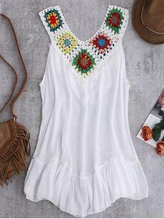 Crochet Yoke Cover-Up Tank Dress - WHITE ONE SIZE