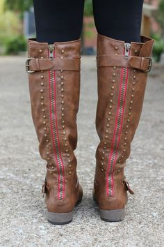 The Pink Lily Boutique - Walk The Line Studded Boots, $42.00 (http://www.thepinklilyboutique.com/walk-the-line-studded-boots/)