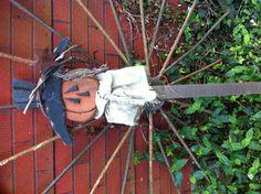 $1.99 Rustic wooden pumpkin scare crow yard stake