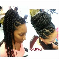 Individual braids, large twist braids, braided updo