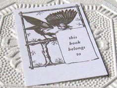 Bird Letterpress Bookplates from Etsy (inkadinkadoodle)