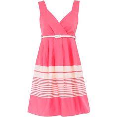Pink stripe belted sundress