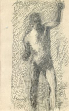 Pierre Bonnard (French, 1867-1947), Nu debout [Standing nude]. Pencil on paper, 24.3 x 15 cm.