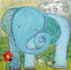 Sweet Mixed Media Elephant by Wyanne on Etsy