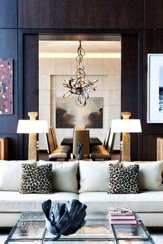 Light fittings, wood panelling, sofa ~ beautiful living area
