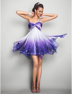 A-Line/Princess One-Shoulder Short/Mini Chiffon Cocktail Dress Grad Dresses, Dance Dresses, Homecoming Dresses, Dress Outfits, Short Dresses, Dress Up, Semi Dresses, Cheap Dresses, Evening Dresses