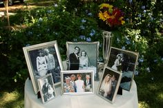 Being a huge fan of old family photos, I LOVE this idea to display family wedding photos at your wedding.