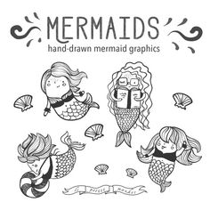 Hand Drawn Cute Mermaid Clip Art, Illustrated Mermaid Clipart, Digital Download, Printable DIY Coloring Sheet, Mermaid Reading Clipart