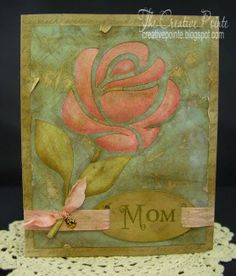 Mother's Day--SVG Stenciled Rose Card Front
