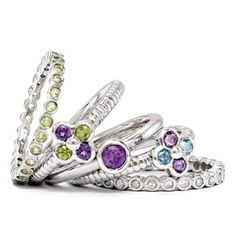 Purple & green stackable rings And they're available at the Golden Gem in Lakeview! Lots of other styles and colors.