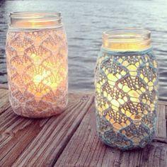 Crochet lace jar candle snugs