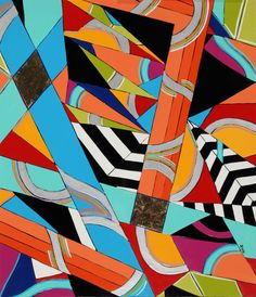 Geometric Painting Maine Painting Abstract Painting ART 28 Original Oil Michele A Caron on Etsy, $450.00