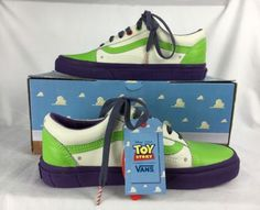 NIB Old Skool Disney Toy Story Vans Buzz Lightyear White Tennis Shoes Men's 11