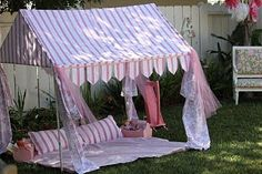 Tent I designed for my daughter's Fancy Nancy inspired party and used again for her Pink Cabana party. Fabric Canopy, Canopy Tent, Door Canopy, House Canopy, Ikea Canopy, Beach Canopy, Canopy Curtains, Pvc Tent, Reading Tent