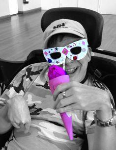 Enjoying some purple ice cream in Harrogate!