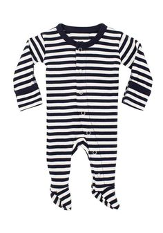aa323454938f9 Organic Footed Overall - Stripes (Various) #BabyboyOveralls Solid And  Striped, Navy And