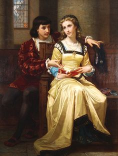 Hugues Merle (French, Romeo & Juliet Oil on canvas. 67 X 51 in. Romeo and Juliet William Adolphe Bouguereau, Classic Paintings, Beautiful Paintings, François Ii, Art Ancien, Landsknecht, Pre Raphaelite, Woman Reading, Colored Pencil Drawings