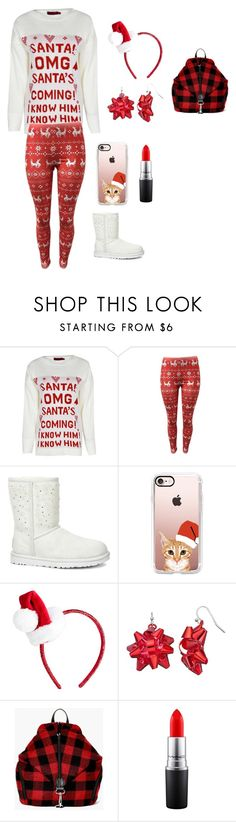 """""""Christmas Party With Friends"""" by thecatsmeow21 ❤ liked on Polyvore featuring Boohoo, UGG, Casetify and MAC Cosmetics"""