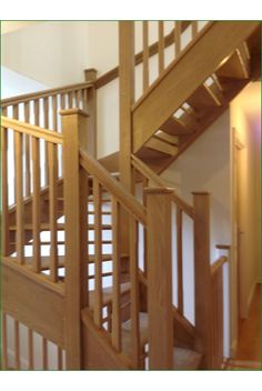 Knaphill Open Riser Staircase - A lovely open riser double winder American White Oak staircase featuring a bullnose feature step.