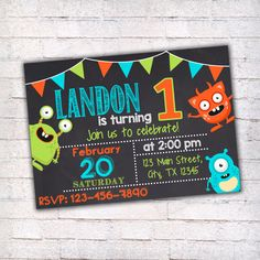 Monster Birthday Invitation, Printable Invitation, Monster Party, First Birthday Invitation, Chalkboard Invitation, Monsters Invitation, 013 by wbanner on Etsy https://www.etsy.com/ie/listing/267388024/monster-birthday-invitation-printable