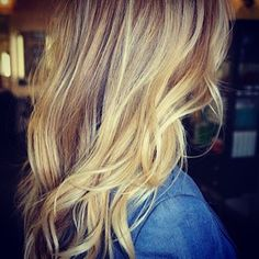 Warm honey blonde and very light orangy brown highlights on wavy medium hair Beautiful Hair Color | Hair Product & Technique Blog