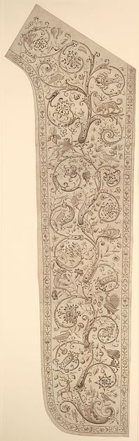 metmuseum.org 17th cent.   Cartoon for embroidery of a panel of a chasuble, decorated with floral, bud and animal designs