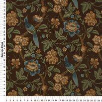 Drapery Fabric - Peony Floral Brown Drapery Fabric