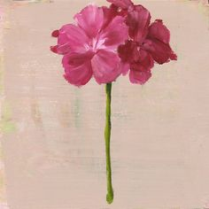 Still Life Painting, Pink Geranium Flower, by Hilda Ooman, Original Oil painting, wood panel, 8x8 inches, wall decor
