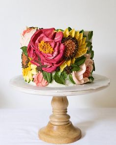 Creative hand-painted cake, you will love it - Lilidiy Gorgeous Cakes, Pretty Cakes, Amazing Cakes, Just Cakes, Cakes And More, Bolo Cake, Hand Painted Cakes, Almond Cakes, Floral Cake