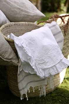 french linen.  (via Simone Says Friday ~ French Linens & Laundry - Fleaing France & French Shopping)