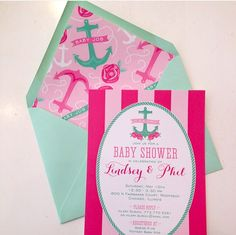 #Preppy and #nautical #baby #shower invitation, accented with peonies and anchors. Love the pink and green I Custom by Nico and Lala