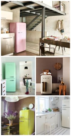 Cannot get enough of this retro, 50's style Smeg fridge! Too cute in so many colors for any kitchen. Too smitten for words!! Repin, and click image to see more!