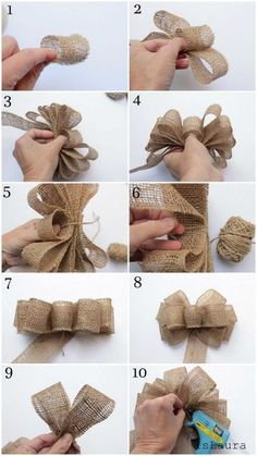Burlap Flowers, Burlap Ribbon, Diy Ribbon, Ribbon Bows, Ribbon Hair, Fabric Flowers, Burlap Crafts, Fabric Crafts, Diy Crafts