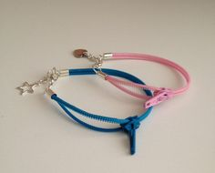 zipper bracelet with heart or star charm by MiColeccion on $7 Etsy
