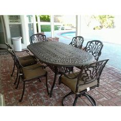 "Heritage Outdoor Living Elisabeth Cast Aluminum 7pc Outdoor Patio Dining Set w/ 42"" X 72"" Oval Table - Antique Bronze Heritage Outdoor Living"