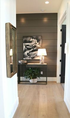 Salt Lake City Parade of Homes 2017 Recap – The Creativity Exchange Salt Lake City Parade of Homes 2017 Recap Accent wall color is Benjamin Moore Kendall Charcoal Home Design, Flur Design, Design Hotel, Parade Of Homes 2017, Painting Shiplap, Painting Walls, Accent Wall Colors, Wall Accents, Brown Accent Wall