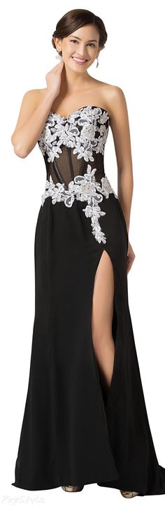 Grace Karin Strapless High Split Evening Gown
