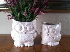 Vintage Ceramic White Owl Planter Large by modclay on Etsy, $49.00