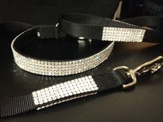 "Black Swarovski Crystal Rhinestone Dog Collar & Leash fits 15-29"" necks"