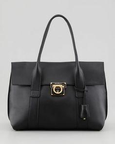 Sookie Small Flap Satchel Bag, Black by Salvatore Ferragamo at Neiman Marcus.