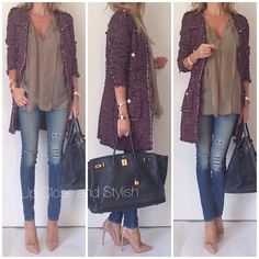 Fall outfit: brown top, skinny blue jeans, purple coat, nude heels and black purse.