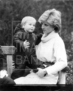 December 14, 1983: Princess Diana with Prince William at a photocall in the garden of Kensington Palace.